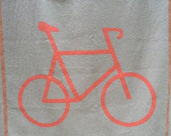 Bicycle Quilt, Modern Quilt, Quilts, Queen Quilt, Orange Tan Quilt