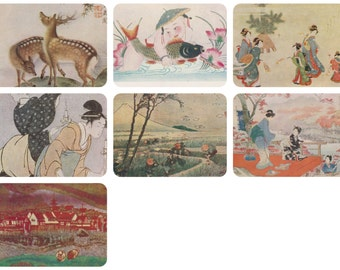 Japanese Art. Collection / Set of 7 Vintage Prints, Postcards -- 1960s-1980s