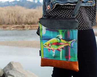Catching Light  Cross Body Sling Bag  Limited Edition KPotter Signed Trout Messenger Bag