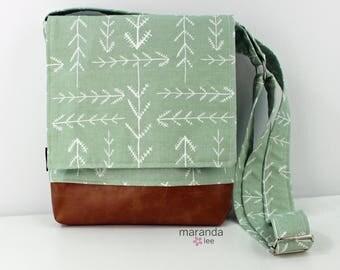 Nori Medium Flap Messenger Slouch Bag with Adjustable Cross Body Bag - Native Sage - iPad Bag  READY to SHIP