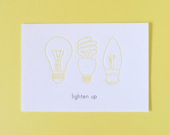 lighten up   lightbulb mini notecard :  letterpress