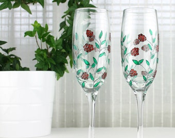 Champagne Flutes, Raspberry Design, Wedding Glasses, Toasting Flutes, Hand Painted Glasses, Raspberry Glasses, Set of 2, Ready to ship
