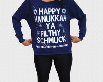 Hanukkah Sweater Funny Ugly Happy Hanukkah Ya Filthy Schmuck Womens Triblend Ugly Holiday Sweater