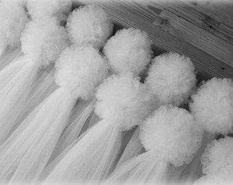 Tulle Pew Bows, Quinceanera, Church Pew Decor, White Pew Bows, Ivory, Traditional Pew Bows, Formal Wedding Decoration, Aisle Decor