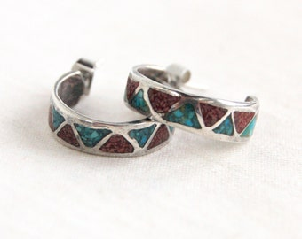 Southwest Hoop Earrings Turquoise Red Coral Hoops Posts Studs Vintage Southwestern Jewelry