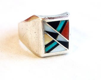 Zuni Biker Ring Inlaid Stone Size 11 Vintage Geometric Inlaid Turquoise, Onyx, Red Coral, Mother of Pearl, Native American Mens Jewelry