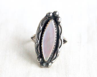 Pink Mother of Pearl Ring Size 5 .75 Vintage Southwestern Marquise Shape Jewelry Gift for Her