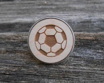 Soccer Ball Tie Tac. Laser Engraved Wood. Wedding, Men's, Groomsmen Gift, Birthday, Anniversary, Birthday, Groom. Futbol