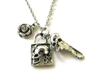 Silver skull lock necklace jewelry, skeleton key pendant with rose charm, long chain necklace, key and lock necklace