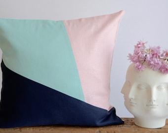 Modern Pillow/Aqua/Blush Pink/Navy Blue/Fresh Spring Collection/Handcrafted/Custom Pillow/Handmade/Eclectic/ZigZag Studio Design
