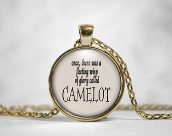 King Arthur 'Camelot' Literary Quote Bronze Pendant Necklace, King Arthur Knights of the Round Table Pendant Necklace