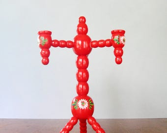 Vintage Traditional Swedish Red Wooden Candelabra / Candle Holder
