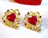 Vintage Heart Earrings Red Enamel and Rhinestone Gold Ribbons Avon Jewelry 1980