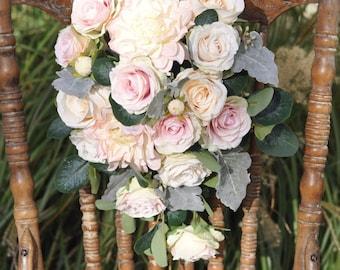 Silk Flower Bride Bouquet, Blush Dahlia, Blush Roses, Faux Flowers, Silk Flowers, Weddings, Destination Wedding, Bridal Bouquet.