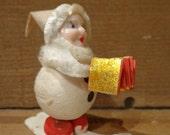 Vintage Christmas Spun Cotton Gnome Elf Skiing