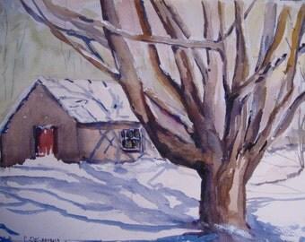 "Watercolor Painting  Winter Barn and Tree Cape Cod Winter Original Art  15"" x 11"" Carlie DeGaetano"