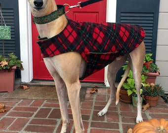 Greyhound Dog Coat, XL Dog Jacket, Dog Coat, Red, Black, and Green Tartan Plaid Fleece with Green Fleece Lining