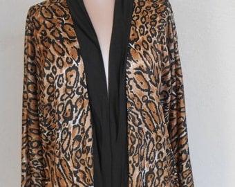 Vintage Robe Cattani of California Leopard Print Animal Silky Nylon