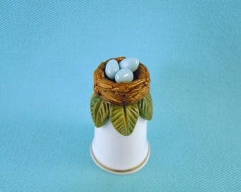 Polymer Clay Hand Sculpted BIRD NEST with Blue Eggs on Bone China Porcelain Thimble