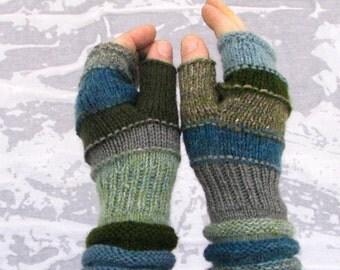 Blue Gray Men fingerless Outlander Inspired accessories men's arm warmers Men's mittens Gift for boyfriend hand knit hand warmers For HIM