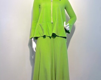SOLD Vintage 1970s BIBA Apple Green Wool Jersey Suit // Forties Influenced Swing Jacket and High Waisted Gore Skirt