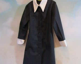 Girl's Wednesday Addam's Navy Blue Shirt Dress With White Collar & Cuffs: All Cotton Fabric, Sizes 5 To 12 - Ready To Ship Now