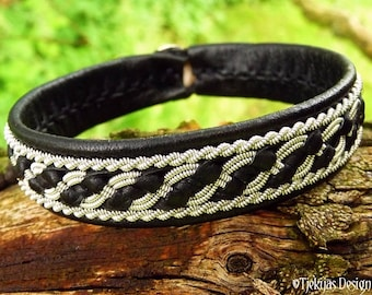 Sami Viking Bracelet FAFNIR Women and Mens Black Leather Cuff with Pewter Braid and Antler Closure | Handmade from Tjekijas Design