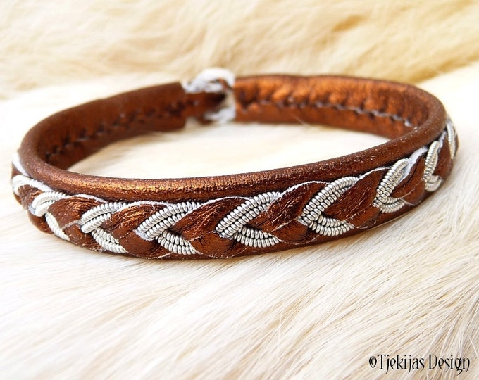 """Viking Sami Bracelet ODIN size 17 cm / 6.7"""" - 20% off OUTLET ready to ship -  Bronze Lambskin Cuff with Pewter Braid and Antler button"""