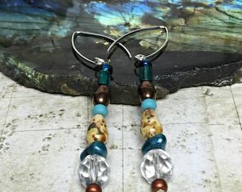 Blue Pearl Earrings - Ocean Jewelry, Beach Gifts, Pearl Jewelry, Womens Earrings, Friendship Gifts, Nautical Jewelry, Pearl Earrings, Pearls