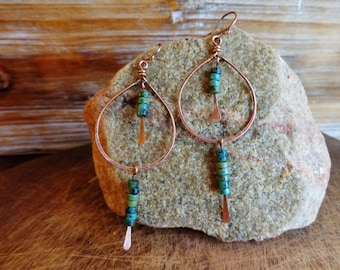 Dribble. Artisan Copper Earrings with Wire Wrapped Heishi Turquoise Gemstones. Simple Native American Indian Gypsy Tribal Boho Chic Rustic