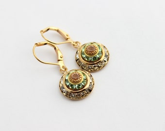 Swarovski earrings, peach and mint earrings, rhinestone earrings, peach earrings, Chrysolite earrings, bridesmaid earring, peach wedding 01