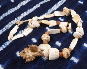 Antique Arca Shell Hippo Tooth Currency Beads & Conus Shell Strand, Mali