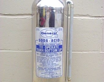 Fire Extinguisher Stainless Chrome Industrial Chic - Soda Acid Marine - General Corp - Fire Engine - Mid century - Firefighter - Steel #2