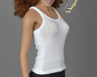 1/6th scale white tank top for female action figures and fashion dolls