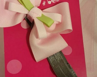 Pink Bow on Grey Headband, Pink Bow, Small headband, Elastic headband, Small grey headband, girls headband, baby headband, girls, baby, pink