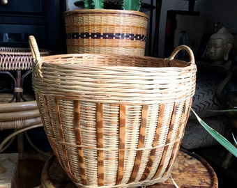 Vintage Wicker Rattan Two Toned Basket with Handles