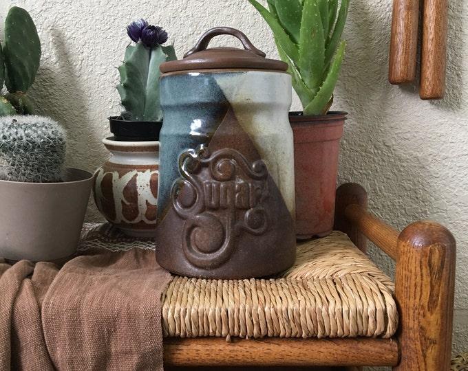 Tall Vintage Pottery Craft Ceramic Sugar Jar with Lid