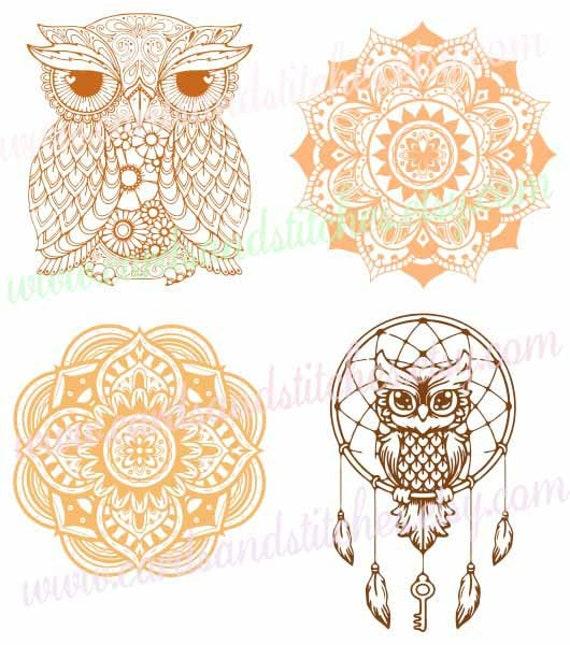 Owl SVG Owl Mandala SVG Mandala SVG Digital Cutting File