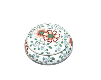 Vintage Boho Trinket Dish Vintage Ceramic Dish Floral Print Dish Bohemian Dish Brown and Green Dish Mexican Pottery Dish