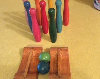 Vintage 1940's Toy Bowling Pins,  Craft Supplies,  Wooden, Game, Repurpose