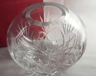 Rose Bowl Vase, 24% Lead Crystal Round Rose Vase