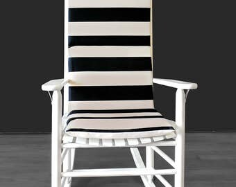 Black Beige Cabana Stripe Rocking Chair Cushion And Or Covers, Ready To Ship