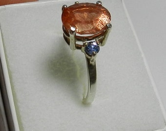 Oregon Sunstone, Montana Sapphires and sterling silver ring    #59