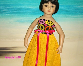 "Strapless Colorful Maxi Dress, ""Peaceful Day"" Handmade Doll Clothes for 20"" Maru and Friends, Dianna Effner Sculpt, Multicolor Peace Signs"
