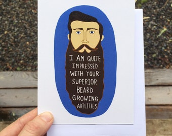 Greeting Card - Beard - Dad, Husband, Guy, Hipster, Boyfriend, father's Day, Birthday, Man, Witty, Humor