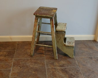 Antique Vintage Wood Folding Step Stool Kitchen Rustic Ladder Farmhouse Fresh