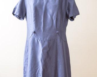60s Navy Plus Size Shift Dress 38 Waist