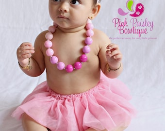 Baby Jewelry, Bubblegum Necklace, Baby Girl Chunky Necklace, Pink Ombre Toddler Necklace, Photo Prop Necklace, Cake smash Photo prop