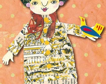 Bird Lady - postcard with one of my paper Ladies