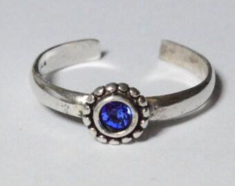 SALE Vintage Sterling Silver Blue Gemstone Flower Modern Adjustable Ring Size 6